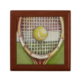 Tennis Racket with Ball Laying on Court Keepsake Box