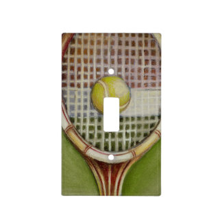 Tennis Racket with Ball Laying on Court Light Switch Cover