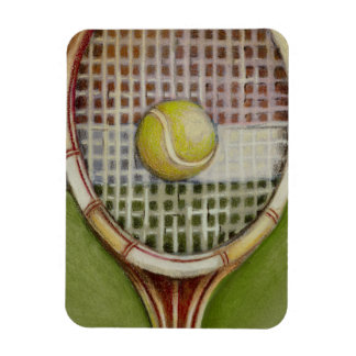 Tennis Racket with Ball Laying on Court Magnet