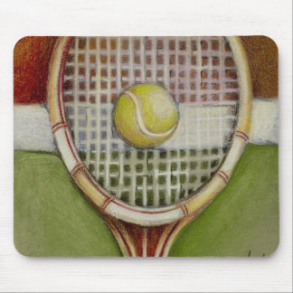 Tennis Racket with Ball Laying on Court Mouse Pad