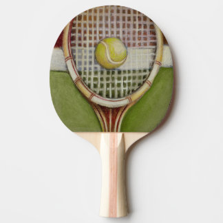 Tennis Racket with Ball Laying on Court Ping Pong Paddle