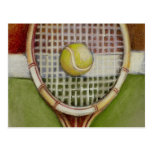 Tennis Racket with Ball Laying on Court Postcard