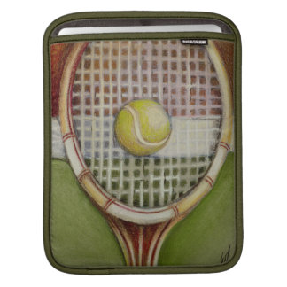 Tennis Racket with Ball Laying on Court Sleeve For iPads