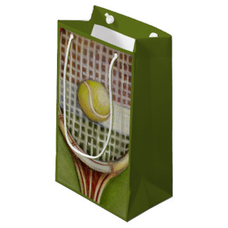 Tennis Racket with Ball Laying on Court Small Gift Bag