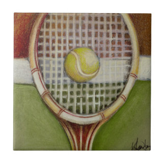Tennis Racket with Ball Laying on Court Tile