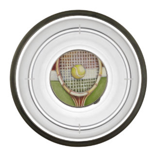 Tennis Racket with Ball Laying on Court Pet Bowl