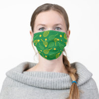 Tennis racket yellow and green pattern cloth face mask