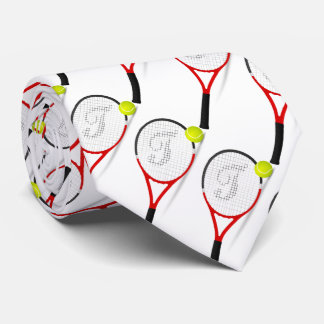 tennis rackets, ball for sportly mans, white backg neck tie