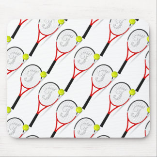 tennis rackets, ball for sportly people, white bac mouse pad