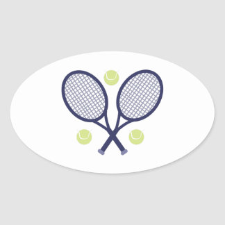 Tennis Rackets Oval Sticker