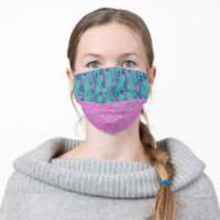 Tennis rackets pattern (pink and minty) cloth face mask