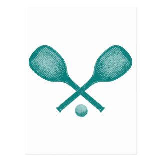 tennis rackets peacock blue postcard