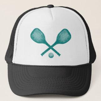 tennis rackets peacock blue trucker hat