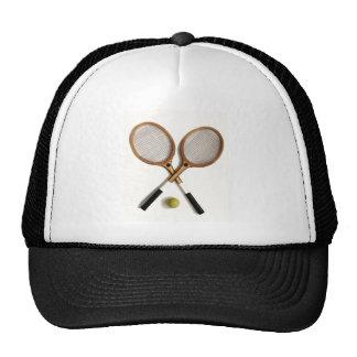 tennis rackets , sports , ballgames, trucker hat