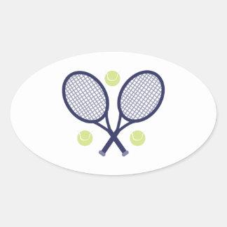Tennis Rackets Oval Sticker