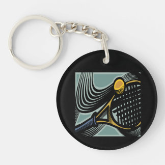 Tennis Racquet 1.png Double-Sided Round Acrylic Keychain