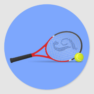 Tennis Racquet and Ball Classic Round Sticker