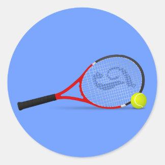 Tennis Racquet and Ball Classic Round Sticker
