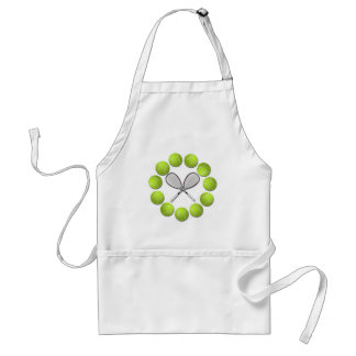TENNIS RACQUET AND BALLS ADULT APRON