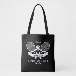 Tennis Racquet Ball Personalized Custom Black Logo Tote Bag