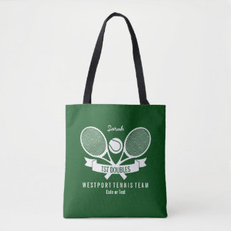 Tennis Racquet Ball Personalized Custom Green Logo Tote Bag