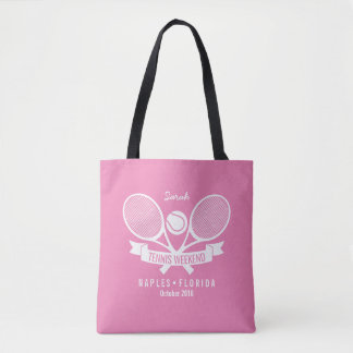 Tennis Racquet Ball Personalized Custom Pink Logo Tote Bag