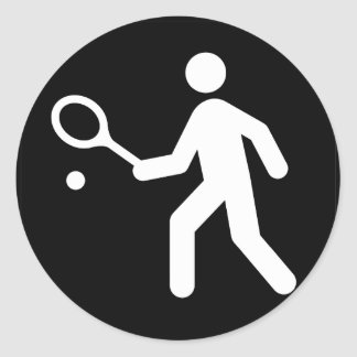 Tennis Racquetball Pictogram Round Stickers