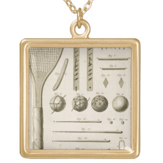 Tennis Racquets and Billiard Cues, from the 'Encyc Gold Plated Necklace