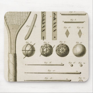 Tennis Racquets and Billiard Cues, from the 'Encyc Mouse Pad