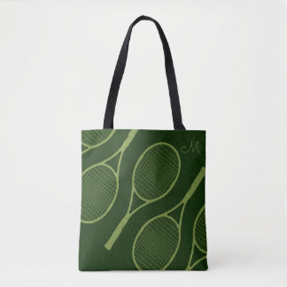 tennis racquets green tote bag