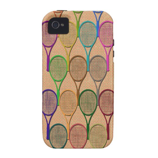 TENNIS RACQUETS IN COLOR iPhone 4 Case-Mate Case