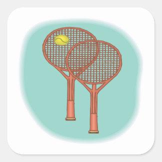 Tennis Racquets Square Sticker