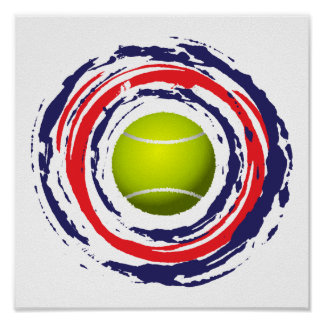 Tennis Red Blue And White Poster
