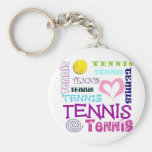 Tennis Repeating Basic Round Button Keychain
