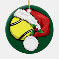 Tennis Santa Cap with Green Ornament