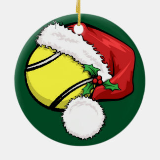 Tennis Santa Cap with Green Ornament