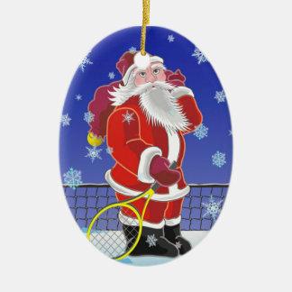 Tennis Santa, Christmas tree, Ceramic Ornament