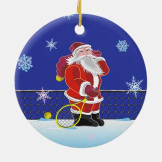 Tennis Santa, Merry Christmas Ceramic Ornament