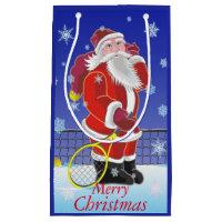 Tennis Santa, Merry Christmas, Small Gift Bag