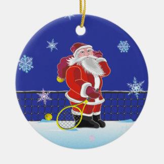Tennis Santa monogram Ceramic Ornament