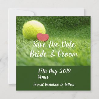 Tennis Save the Date with love on green grass
