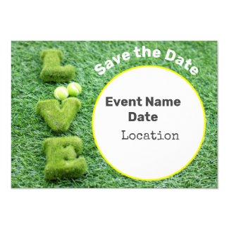 Tennis save the date with love on green grass invitation