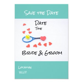 Tennis Save the Date with racket ball wedding Invitation