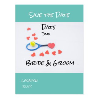 Tennis Save the Date with racket ball wedding Postcard