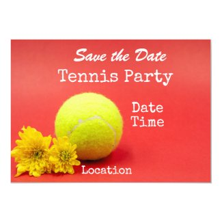 Tennis save the date with tennis ball and flower invitation