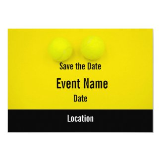 Tennis Save the Date with tennis ball on yellow Invitation