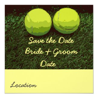 Tennis Save the date with two balls are on green Invitation