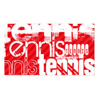 Tennis; Scarlet Red Stripes Double-Sided Standard Business Cards (Pack Of 100)