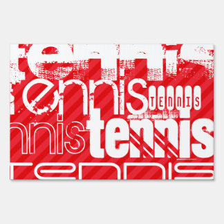 Tennis; Scarlet Red Stripes Lawn Sign