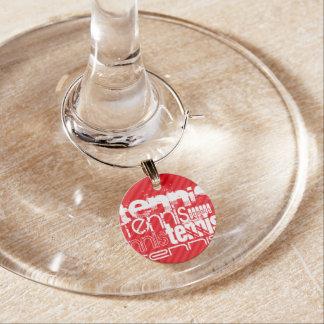 Tennis; Scarlet Red Stripes Wine Glass Charm